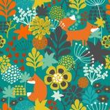 Безшовная картина с лисой в цветках  бесплатная иллюстрация