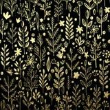 Безшовная картина с листовым золотом и травой вектор Стоковое фото RF