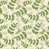 Безшовная картина с листьями, абстрактная текстура листьев Стоковое Фото