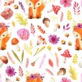 Безшовная картина с листьями осени акварели иллюстрация штока