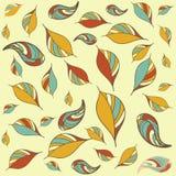 Безшовная картина с листьями осени искусства Стоковое Изображение RF