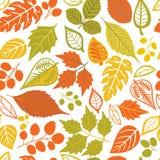 Безшовная картина с листьями иллюстрация штока