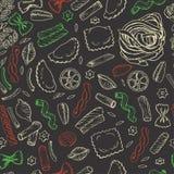 Безшовная картина с итальянскими макаронными изделиями на темной предпосылке Стоковые Фотографии RF