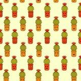 Безшовная картина с кактусами желтых, апельсина, коричневых и зеленых doodle парней на бежевой предпосылке иллюстрация штока