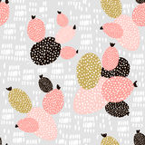 Безшовная картина с кактусами и нарисованными рукой текстурами Улучшите для ткани, ткани вектор eps10 предпосылки творческим насл Стоковая Фотография