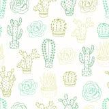 Безшовная картина с кактусами и succulents Стоковые Изображения RF