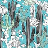 Безшовная картина с кактусом Одичалый лес кактусов Стоковое Изображение