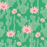 Безшовная картина с кактусом Стоковая Фотография