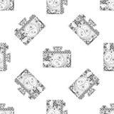 Безшовная картина с камерами в quilling стиле Светотеневая винтажная предпосылка для фотографии Дизайн искусства в линии Стоковые Фото