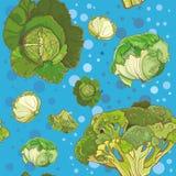 Безшовная картина с капустой, брокколи, савойя Стоковые Изображения RF