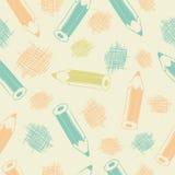 Безшовная картина с карандашами Стоковые Фото