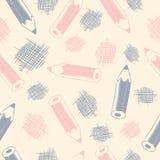 Безшовная картина с карандашами Стоковое Фото