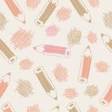 Безшовная картина с карандашами Стоковые Фотографии RF