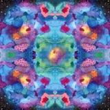 Безшовная картина с картиной галактики в методе Shibori Стоковое Фото