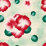Безшовная картина с картиной хода акварели одного на холсте Цветки и листья нарисованные рукой фольклорные Стоковые Фотографии RF