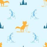 Безшовная картина с катанием на лыжах лисы и зайцев Стоковые Изображения RF