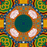 Безшовная картина с китайским пионом орнамента Стоковая Фотография RF