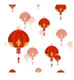 Безшовная картина с китайским фонариком Стоковое фото RF