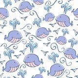 Безшовная картина с китами doodle иллюстрация вектора