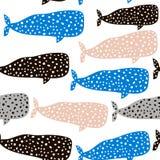 Безшовная картина с китом Ребяческая текстура для ткани, ткани Предпосылка вектора Стоковые Изображения