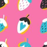Безшовная картина с клубникой нарисованной рукой на розовой предпосылке иллюстрация штока
