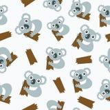 Безшовная картина с коалами. Стоковое Изображение