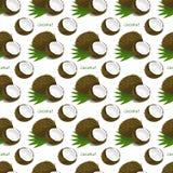 Безшовная картина с кокосами Стоковое Изображение RF