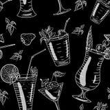 Безшовная картина с коктеилями Стоковое фото RF