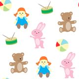 Безшовная картина с комплектом ` s детей возражает Игрушки и одежды для ребенка Стоковое Изображение RF