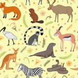 Безшовная картина с комплектом вектора животных шаржа милым стиль иллюстрации вектора нарисованный вручную Зебра, лиса, бобр, ант Стоковая Фотография