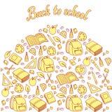 Безшовная картина с комплектом различных вещей школы Стоковое Фото