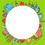 Безшовная картина с комплектом различных вещей школы vector круг Стоковые Изображения