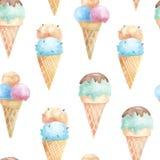 Безшовная картина с конусами waffle мороженого Стоковая Фотография RF