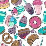 Безшовная картина с конфетой, мороженым donuts сладостным и другими вкусными элементами бесплатная иллюстрация