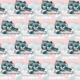 Безшовная картина с коньками ролика на розовой предпосылке Стоковое Фото