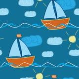 Безшовная картина с кораблем нарисованным рукой в волнах Стоковое Фото