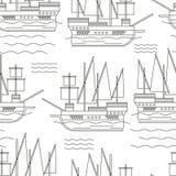 Безшовная картина с кораблями Стоковое Фото