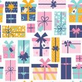 Безшовная картина с коробками подарка на рождество вектор иллюстрация вектора