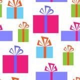 Безшовная картина с коробками подарка иллюстрация вектора