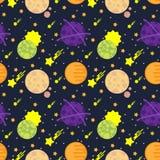 Безшовная картина с космическими планетами Стоковое Фото