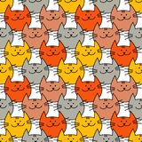 Безшовная картина с котами битника милыми Смешные симпатичные коты Дизайн ткани, обои иллюстрация штока