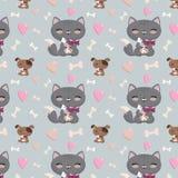 Безшовная картина с котами и собаками Стоковое фото RF