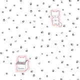 Безшовная картина с котами и следом ноги Стоковое Изображение RF
