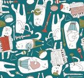 Безшовная картина с котами музыканта и аппаратурами музыки в ярких цветах Коты играют на барабанчике, аккордеоне, трубке, гитаре  иллюстрация вектора