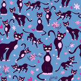 Безшовная картина с котами шаржа Стоковое фото RF