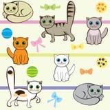 Безшовная картина с котами Стоковое фото RF