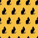 Безшовная картина с котами. Стоковые Фотографии RF