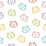 Безшовная картина с котами. Стоковые Изображения RF