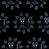 Безшовная картина с котом в круге Стоковое Изображение RF