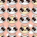 Безшовная картина с котятами Kawaii Безшовная картина милых котов шаржа, dif иллюстрация вектора